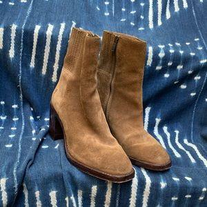 Frye Suede Block Heel Ankle Boot